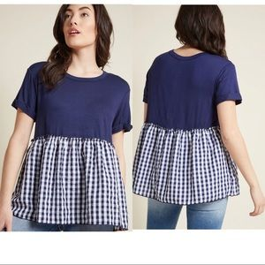 ModCloth Navy Peplum Top  With Gingham Skirt